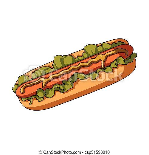 Hot dog, single icon in cartoon style.Hot dog vector symbol stock illustration web. - csp51538010