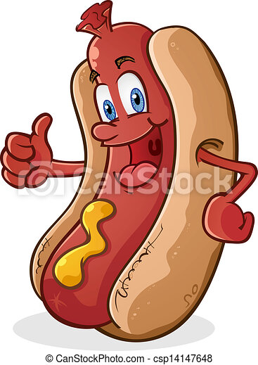 Hot Dog Thumbs Up Cartoon Character - csp14147648