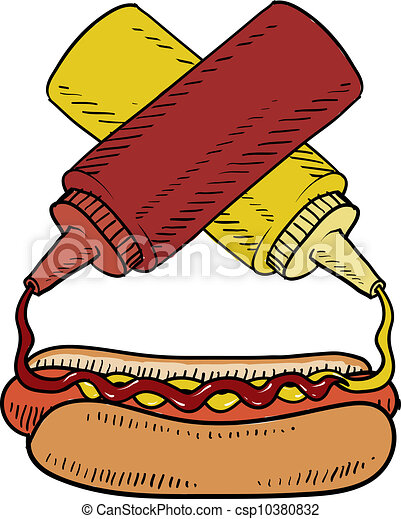 hot dog with condiments sketch doodle style hot dog with ketchup rh canstockphoto com Free Cooking Clip Art Free Fall Clip Art