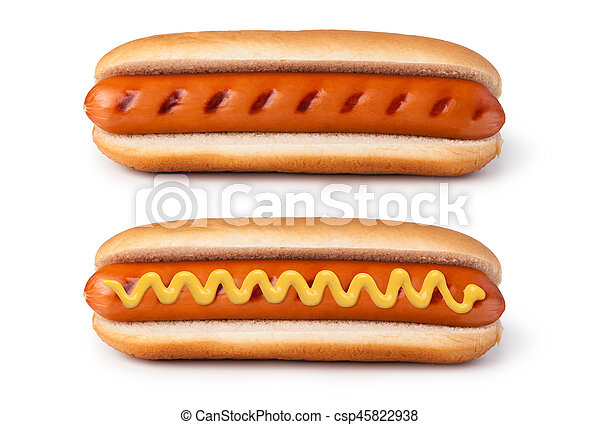 Hot dog with mustard - csp45822938