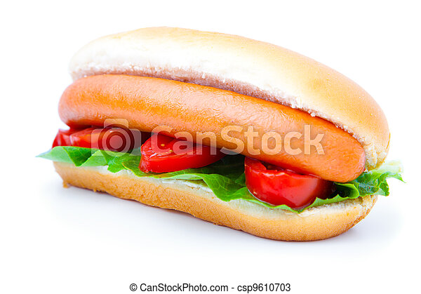 Hot dog with vegetables on a white background - csp9610703