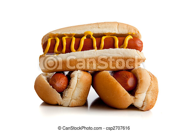 Hot dogs with mustard on a white background - csp2707616