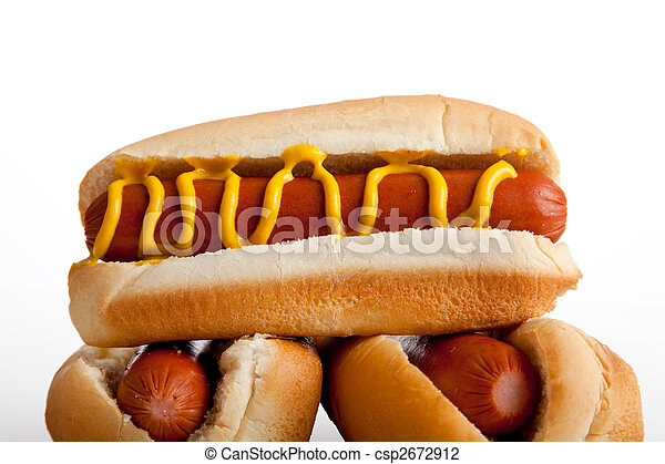Hot dogs with mustard on a white background - csp2672912