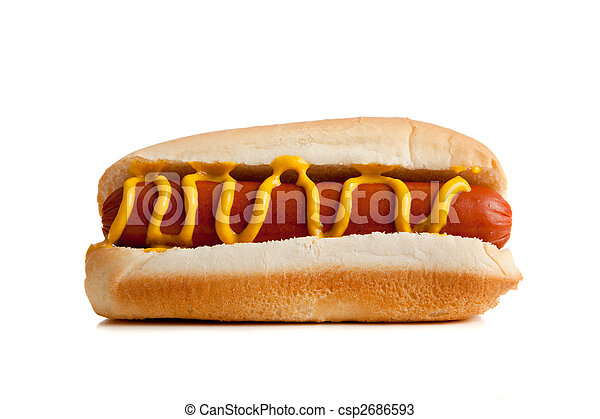 Hot dogs with mustard on a white background - csp2686593