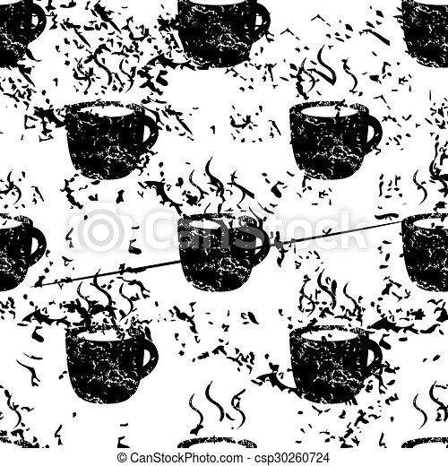 Hot drink pattern, grunge, monochrome - csp30260724