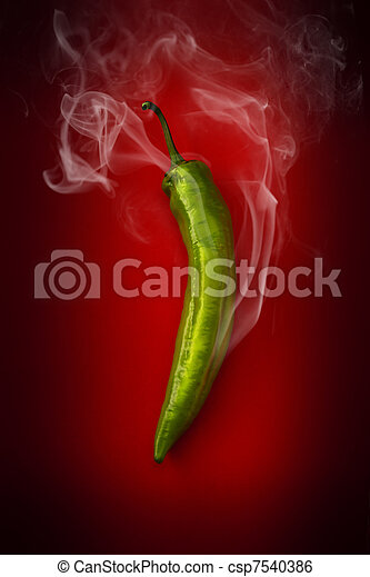 hot green pepper on a red background - csp7540386