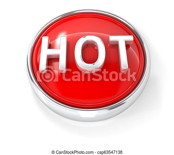 Hot icon on glossy red round button - csp63547138