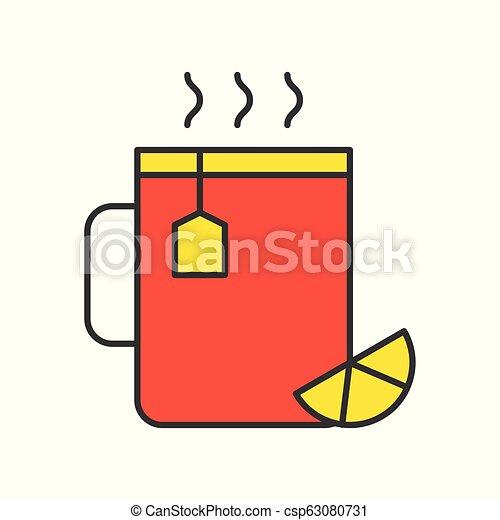 Hot lemon tea, Food set, filled outline icon - csp63080731
