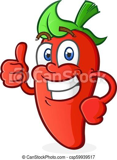 Hot Pepper Cartoon Character giving a Thumbs Up - csp59939517