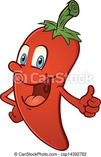 Hot Pepper Thumbs Up Cartoon - csp14392782