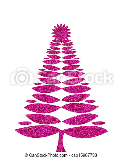 Hot Pink Christmas Tree Background With Glitter