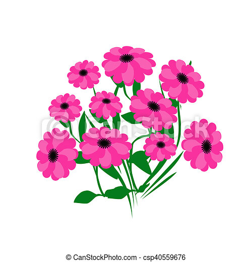 Hot pink flowers pink flower bouquet on white background stock hot pink flowers csp40559676 mightylinksfo