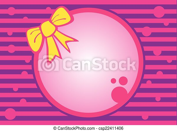 Hot pink round frame . Round frame with yellow ribbon on pink purple ...