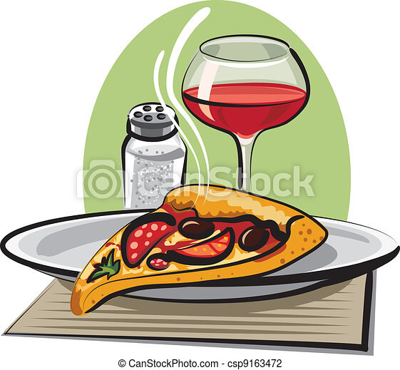 hot pizza and wine - csp9163472
