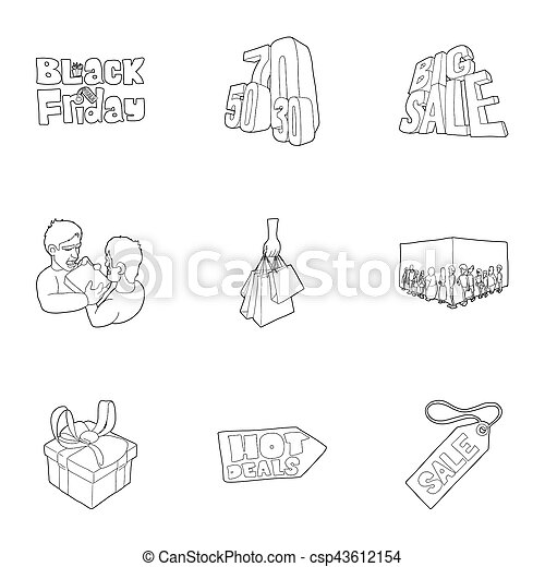 Hot price icons set, outline style - csp43612154
