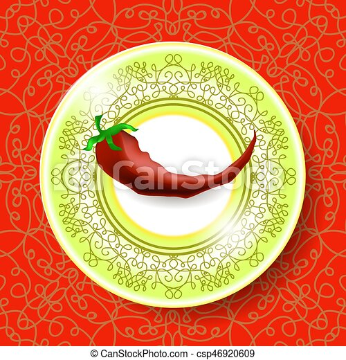Hot Red Pepper On Ornamental Tablecloth   Csp46920609