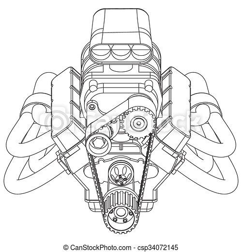 V8 Engine Drawings