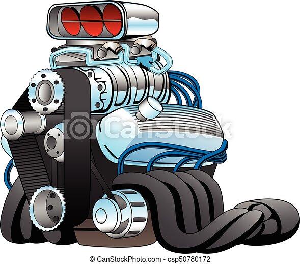 Hot rod race car engine cartoon vector illustration. Very cool ...