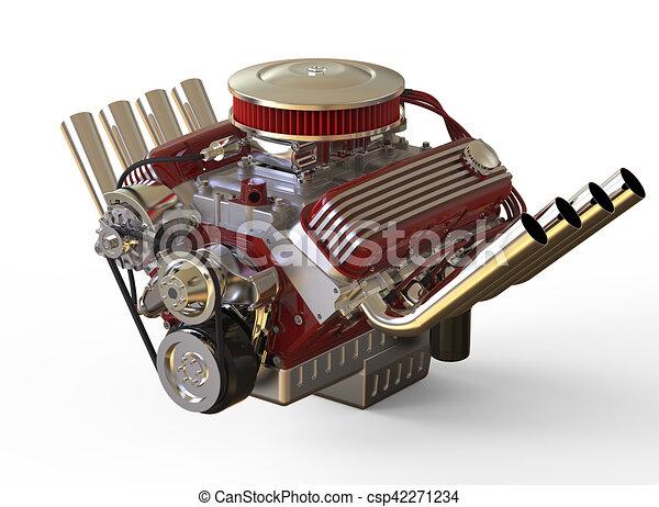 Hot Rod Engine Illustration