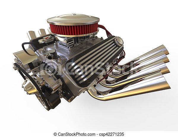 Hot rod V8 Engine 3D render - csp42271235