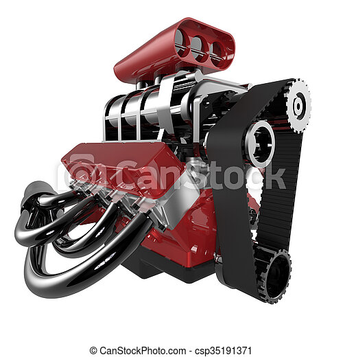 Hot rod V8 Engine - csp35191371