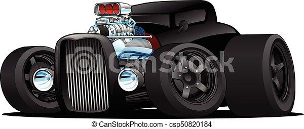 Hot Rod Vintage Coupe Custom Car Cartoon Vector Illustration - csp50820184