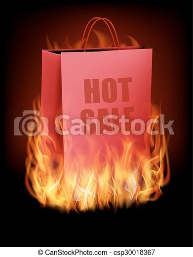 Hot sale background with shopping bag and fire. Vector. - csp30018367