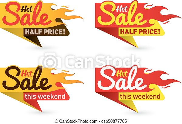 Hot sale price offer deal vector labels templates stickers designs with flame - csp50877765