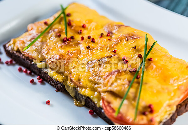 Hot sandwich with cheese and ham. - csp58660486