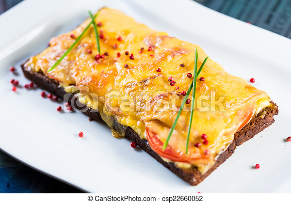 Hot sandwich with cheese and ham. - csp22660052