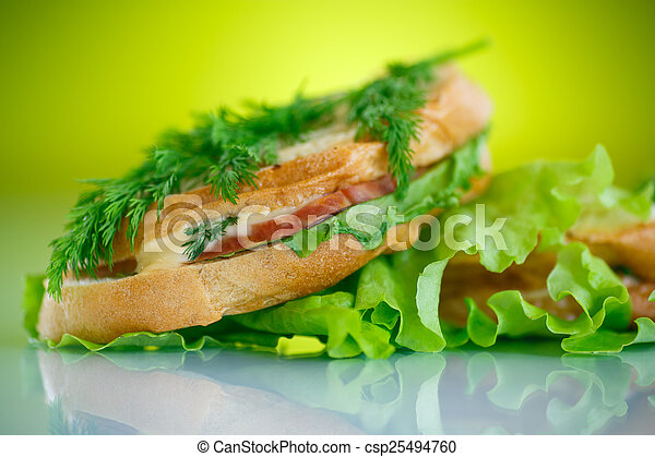 hot sandwiches with ham and cheese - csp25494760