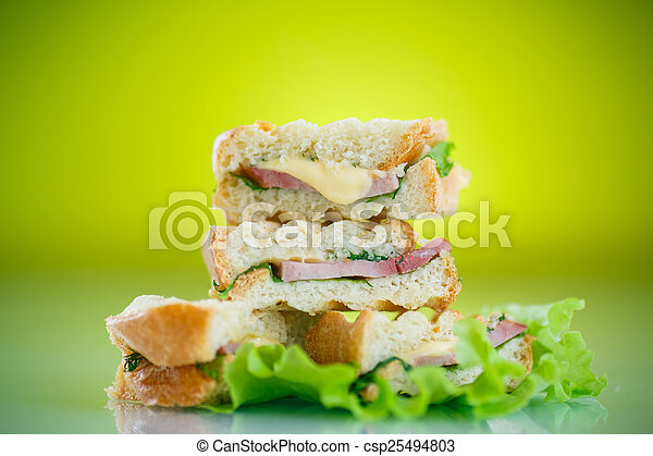 hot sandwiches with ham and cheese - csp25494803