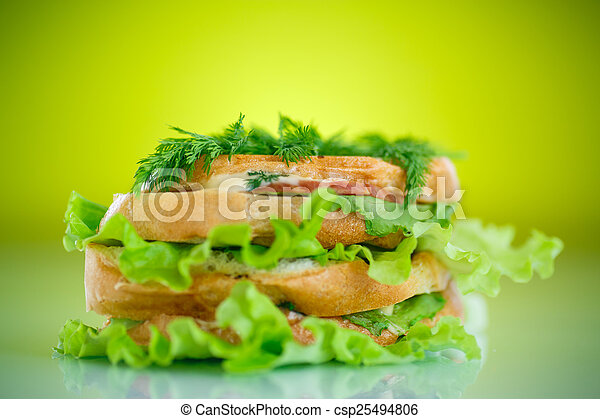 hot sandwiches with ham and cheese - csp25494806