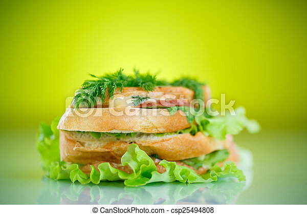 hot sandwiches with ham and cheese - csp25494808