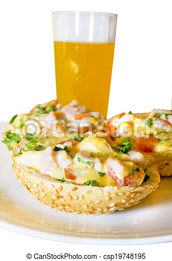 hot sandwiches with ham, cheese, tomatoes and herbs - csp19748195