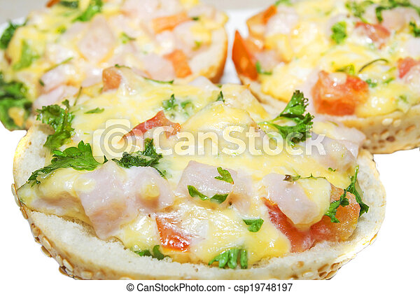 hot sandwiches with ham, cheese, tomatoes and herbs - csp19748197