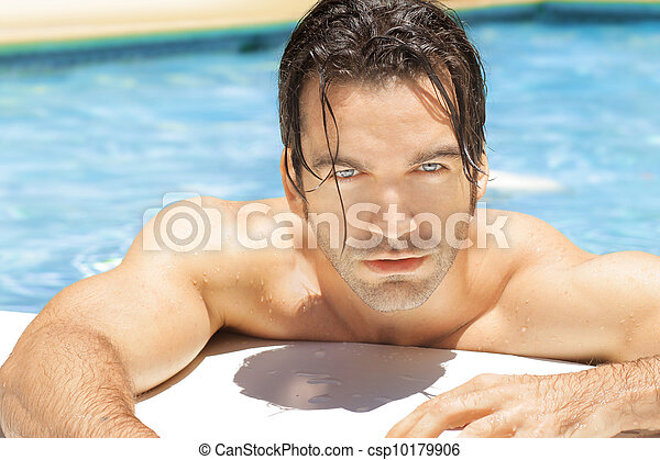 Hot sexy guy in pool - csp10179906
