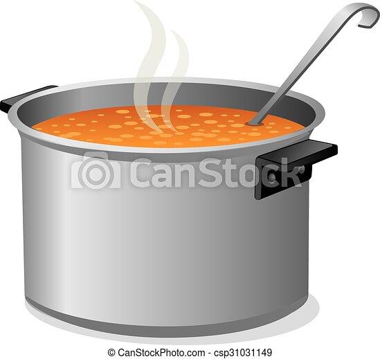 hot soup in pan - csp31031149