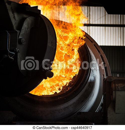 Hot steel pouring in steel plant - csp44640917