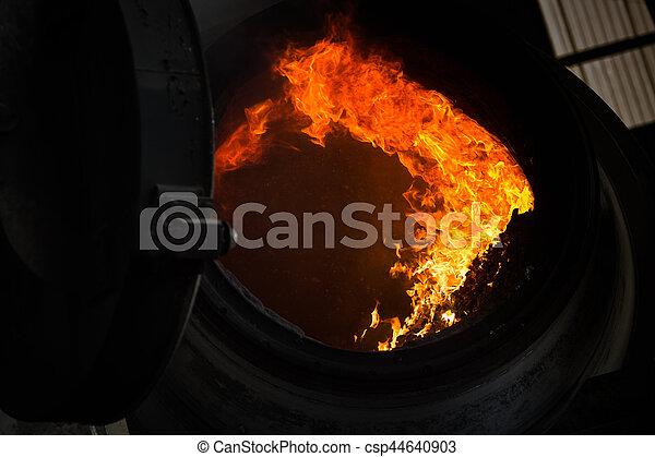 Hot steel pouring in steel plant - csp44640903