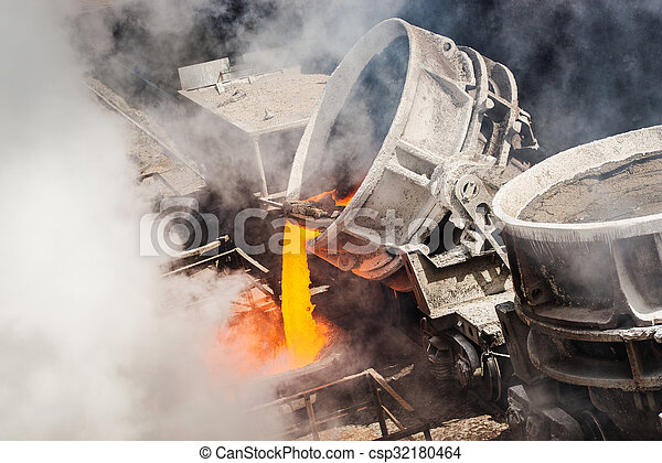 Hot steel pouring  - csp32180464