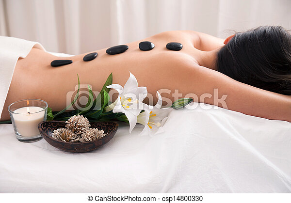 Hot Stone wellness treatment - csp14800330