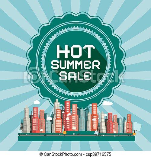 Hot Summer Sale Retro Vector Card with City - csp39716575