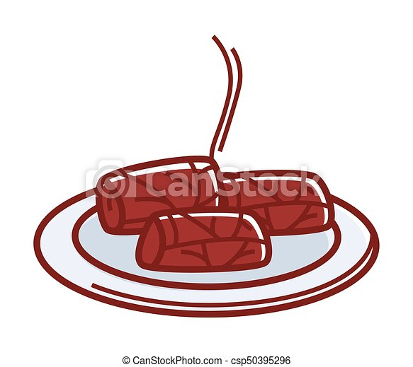 Hot tasty dolma on plate isolated cartoon illustration - csp50395296