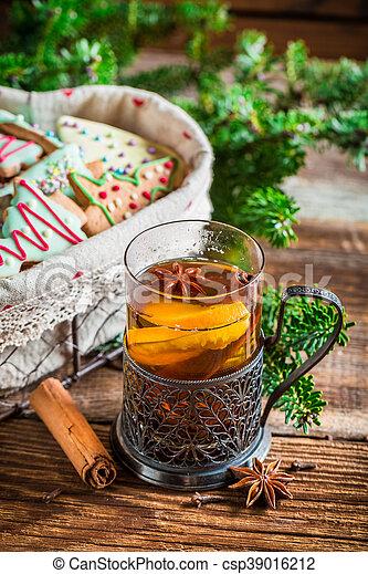 Hot tea for Christmas - csp39016212