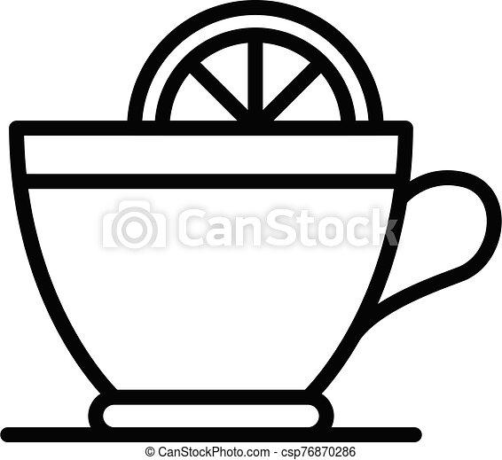 Hot tea lemon cup icon, outline style - csp76870286