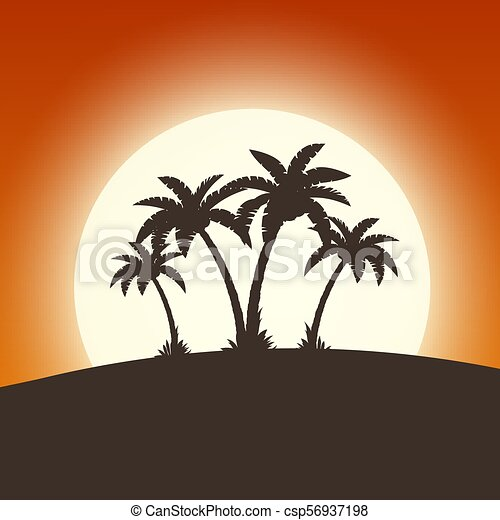 Hot tropical island with palm trees - csp56937198