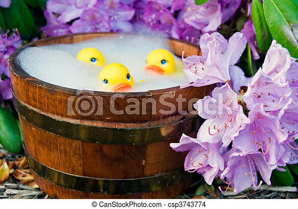 Hot tubbing. Yellow rubber ducks in tub with azaleas.