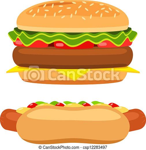 Hotdog And Burger On White Background Vector Hotdog And Burger On