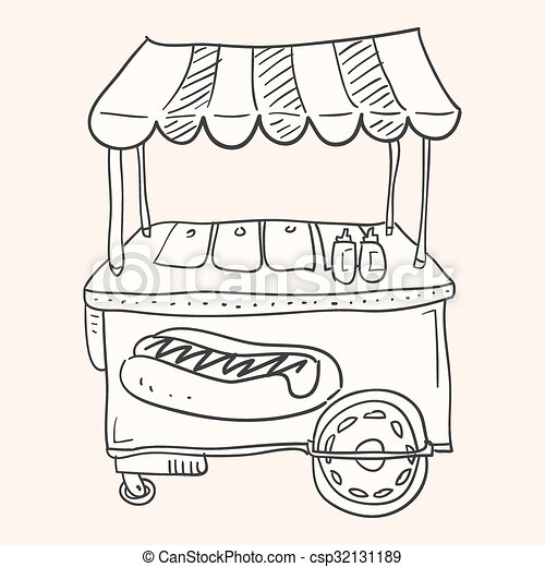 Hotdog Stand. Illustration Of Hot Dog Stall With Fast Food Snacks.